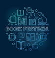book festival concept blue round linear vector image vector image