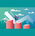 business arrow concept with businessman jumping vector image vector image