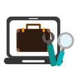 business briefcase on laptop screen and tools vector image