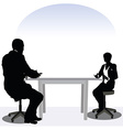 business man and woman silhouette in meeting pose vector image vector image