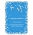 Christmas frame with snowflakes over blue vector image