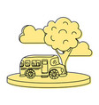 color school bus in the city with clouds and tree vector image vector image