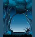dark night forest scene vector image vector image
