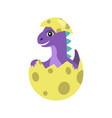 dinosaur purple in egg object vector image