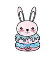 doodle kawaii cute rabbit head and donuts vector image vector image