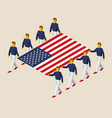 eight people hold big usa flag vector image