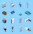 electricity isometric icons set vector image