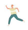 funny male teenager in cap and sportswear running vector image vector image