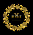 golden floral wreath vector image vector image