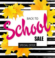 hand drawn back to school lettering sale label vector image
