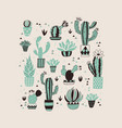 hand drawn cactus card vector image vector image