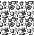 Hand drawn sketch sport seamless pattern with vector image vector image