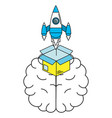 idea brain working cartoon vector image vector image