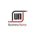 initial letter un logo template design vector image