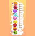 kids height chart with funny cartoon colorful vector image vector image