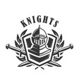 knights emblem template with medieval knight vector image vector image