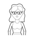 line beautiful woman with glasses and blouse cloth vector image vector image