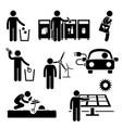 man recycle green environment energy saving stick vector image