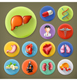 Medicine and Health long shadow icon set vector image vector image