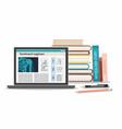 medicine education concept tablet medical book vector image vector image