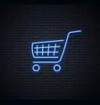 neon sign a shopping cart vector image