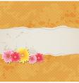 Orange vintage background with flowers vector image vector image