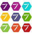 razor blade icon set color hexahedron vector image vector image