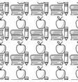 school books and pencil with apple fruit vector image