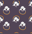 seamless pattern cloud character jumping vector image