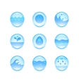 set abstract flat water icons vector image vector image