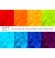 set colorful polygonal backgrounds vector image