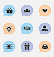 Set of 9 editable trade icons includes symbols