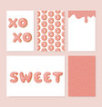 set of cute donut cards donut with pink glaze vector image vector image