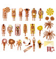 set of sunbathing people on the summer beach vector image vector image