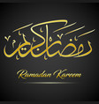 shiny gold ramadan kareem calligraphy on black bac vector image