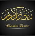 shiny gold ramadan kareem calligraphy on black bac vector image vector image