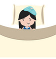 sick little girl with thermometersick in bed vector image vector image