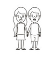 silhouette caricature full body couple in casual vector image vector image