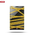 Smartphone mobile phone warning tape wrapped vector image vector image