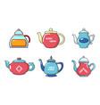 tea pot icon set cartoon style vector image