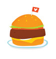 vegan burger on a plate isolated vector image vector image