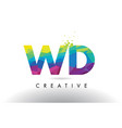 wd w d colorful letter origami triangles design vector image vector image