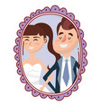 wedding portrait cartoon vector image