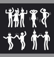 amusement people poses set of white pictograms vector image