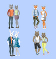 anthropomorphic animals male and female vector image vector image