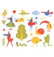 birds and bizarre creatures vector image vector image