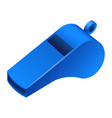 blue whistle icon realistic style vector image