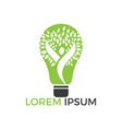 bulb lamp and people tree logo design vector image