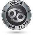 Cancer zodiac silver sign cancer symbol vector image vector image