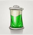 cartoon battery green liquid vector image vector image